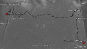 Trajeto completo do Lunokhod 1 na lua.