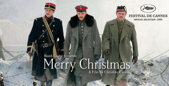 Banner do filme joyeux noel,  Frohe Weihnachten, merry christmas,    Feliz Natal respectivamente em Frances, alemão e Inglês. a trégua de natal de 1914
