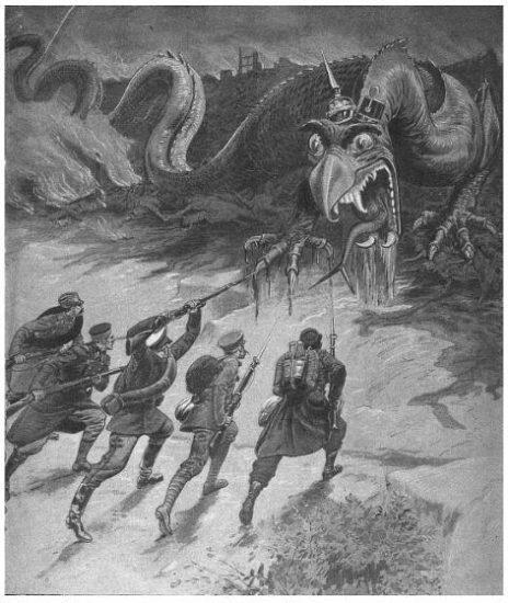 O imperio alemão retratado como um dragão sendo enfretado por soldados da aliança