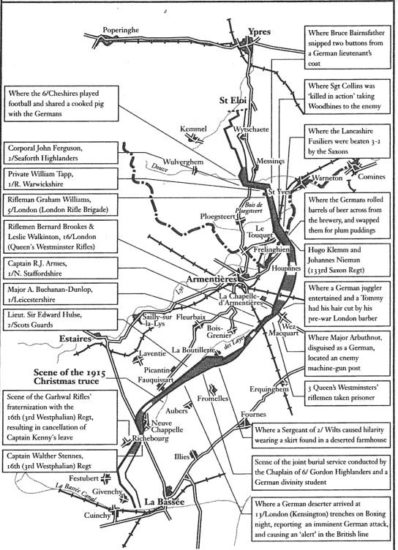 Mapa dasTincheiras proximas a Armentières, com os locais  aonde foram feitas as comemorações